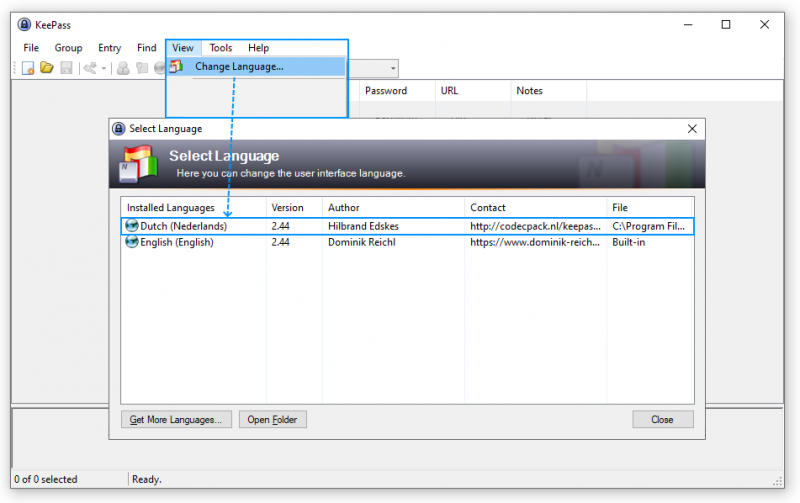 KeePass Password Safe Nederlandse taal instellen