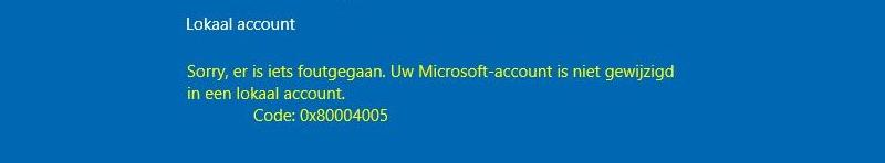 Lokaal account foutmelding 0x80004005
