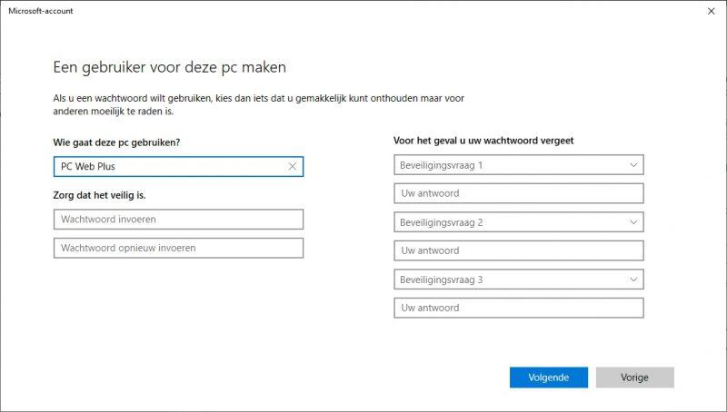 Lokaal account aanmaken in Windows 10