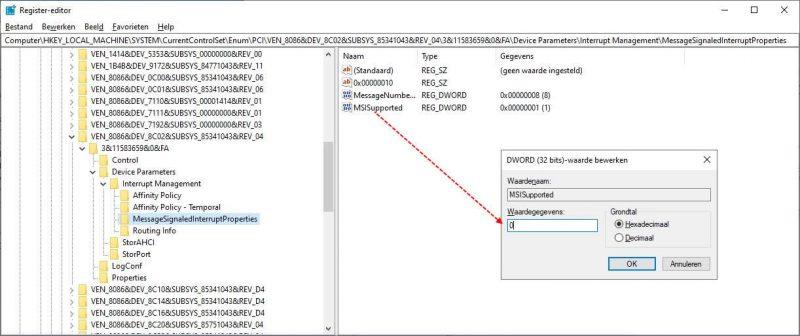 MSI-modus uitschakelen in Windows 10