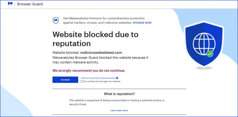 Browser Guard website geblokkeerd