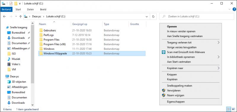 Handmatig de map Windows10Upgrade verwijderen
