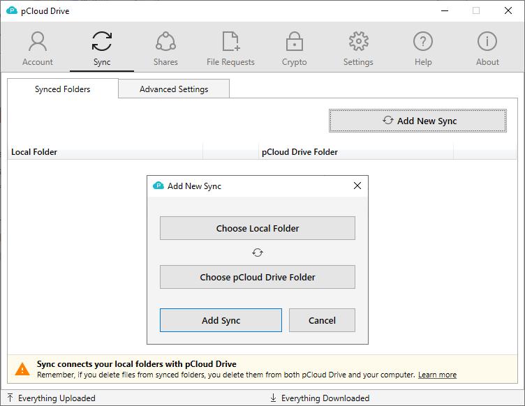 Mappen synchroniseren met de pCloud Drive