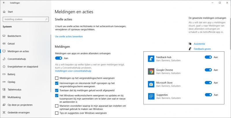 Meldingen en acties uitschakelen in Windows 10
