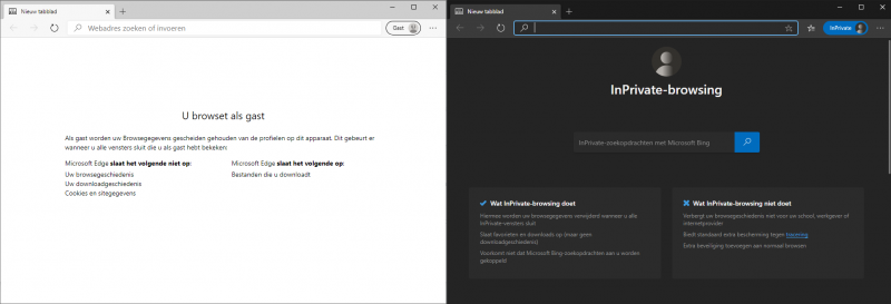 InPrivate of als Gast browsen in Microsoft Edge Chromium
