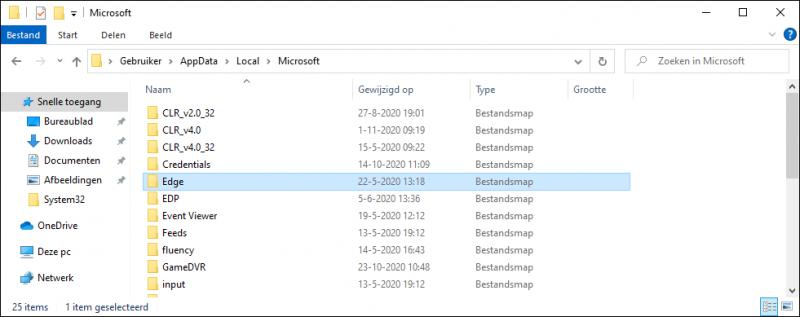 Microsoft Edge Chromium back-up maken