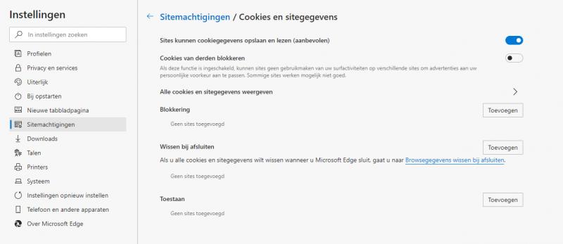Cookies en sitegegevens