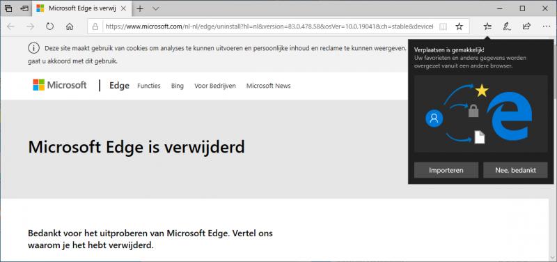 Microsoft Edge is verwijderd