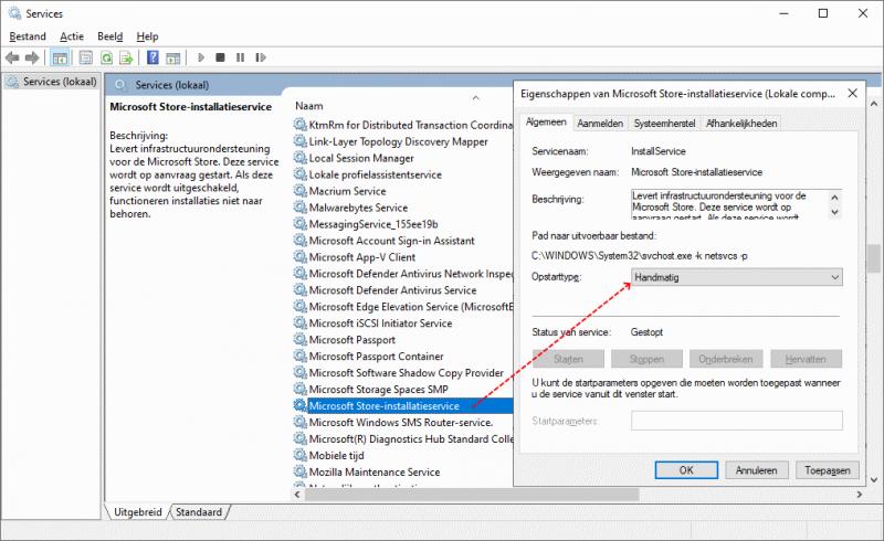 Microsoft Store-installatieservice inschakelen