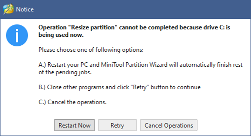 MiniTool Partition Wizard - restart systeem