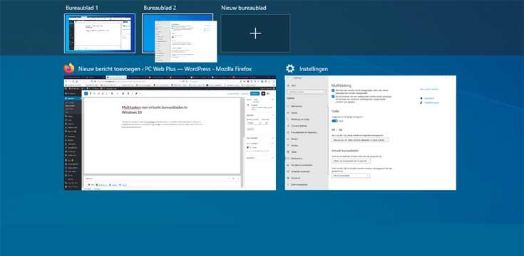 Multitasken met virtuele bureaubladen in Windows 10
