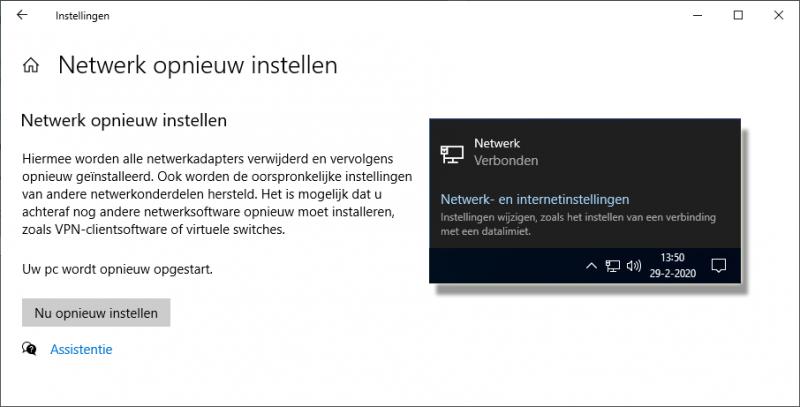 Netwerk opnieuw instellen