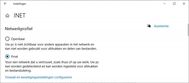 Netwerkprofiel instellen in Windows 10