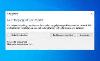 Netwerkfout geen toegang 0x80004005