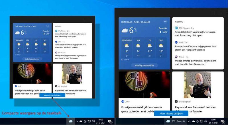 Weergave Nieuws en interesses in Windows 10 op de taakbalk
