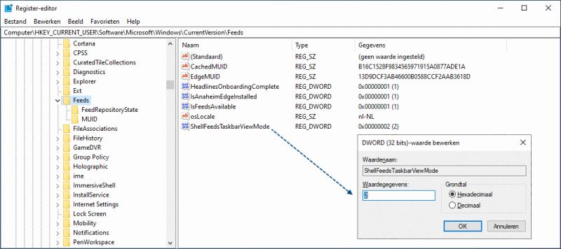 Instellingen nieuws en interesses aanpassen in het register van Windows