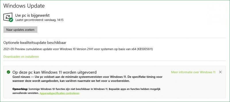 Op deze PC kan Windows 11 worden uitgevoerd