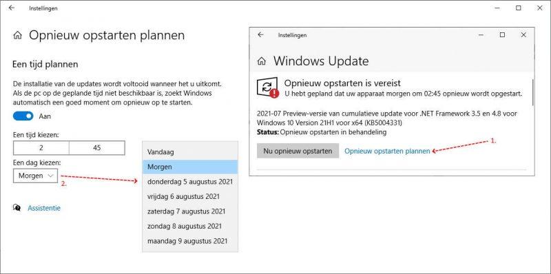 Opnieuw opstarten plannen in Windows 10