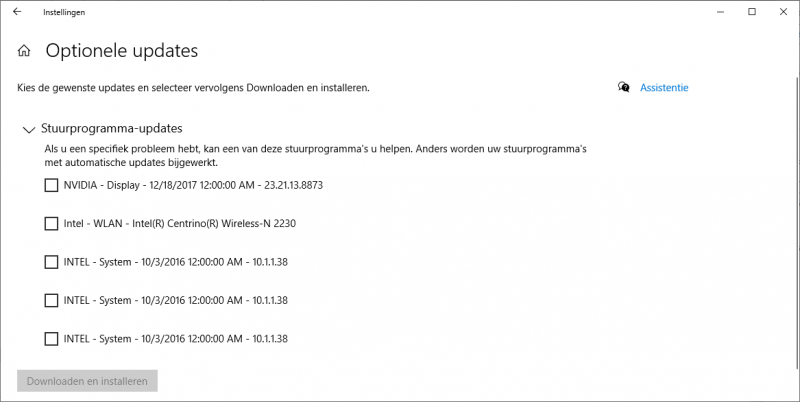 Optionele stuurprogramma-updates in Windows 10
