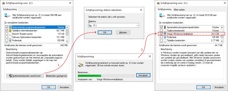 Oude Windows-installaties verwijderen met schijfopruiming