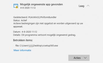 PUA:Win32/PiriformBundler Mogelijk ongwenste app