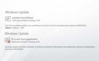 Problemen met KB5005565 in Windows 10