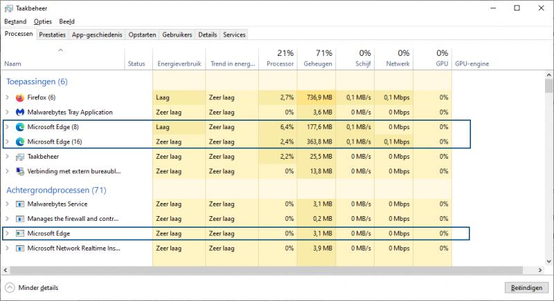 Processen Microsoft Edge beëindigen