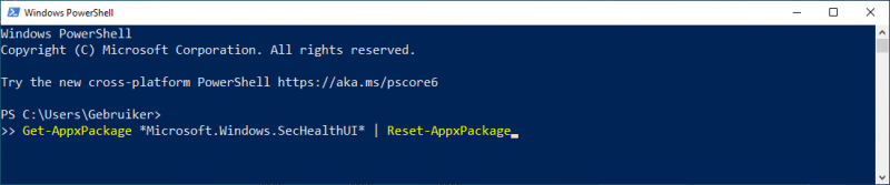 Reset Windows Security via PowerShell