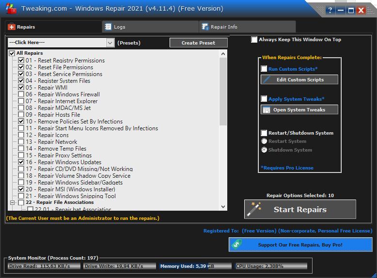 Reset systeeminstellingen met Windows Repair AIO