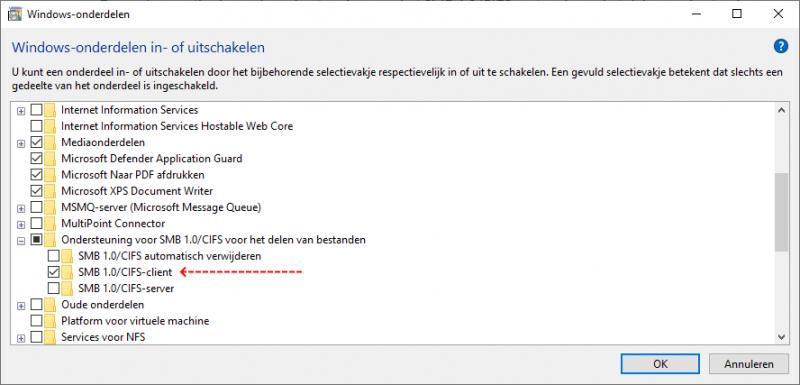 SMB1Protocol inschakelen via Windows-onderdelen