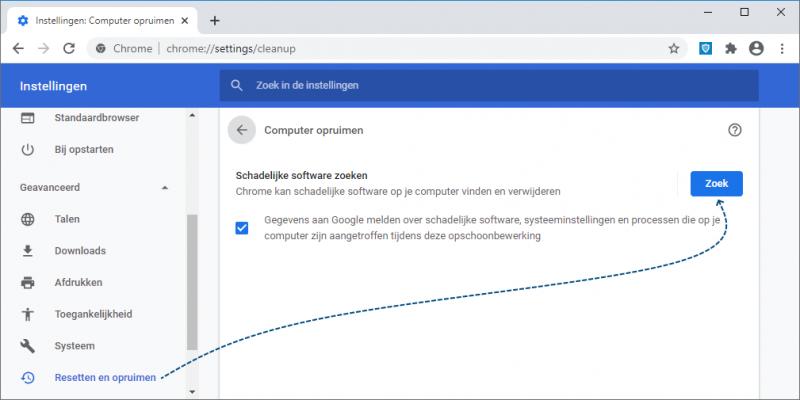 Schadelijke software verwijderen in Google Chrome