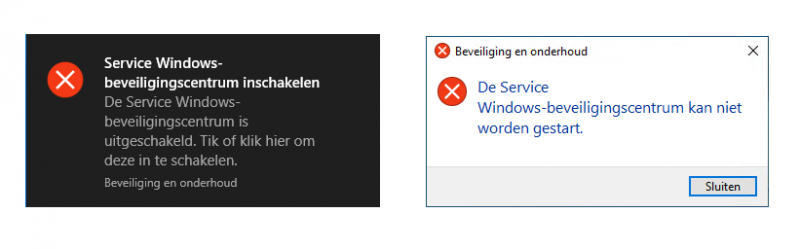 Service Windows-beveiligingscentrum inschakelen