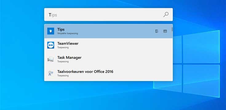 Snel zoeken PowerToys Run in Windows 10