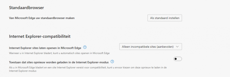 Standaardbrowser en Internet Explorer compabiliteit
