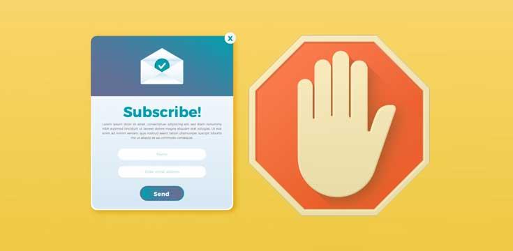 Subscribe pop ups blokkeren in uw browser