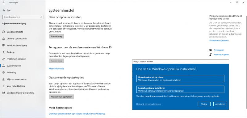 Systeemherstel Windows 10 opnieuw installeren
