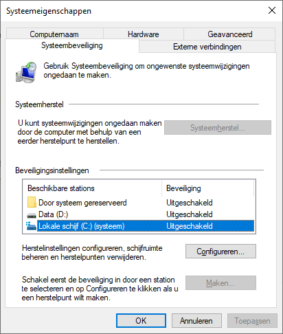 Systeemherstel configureren in Windows 10