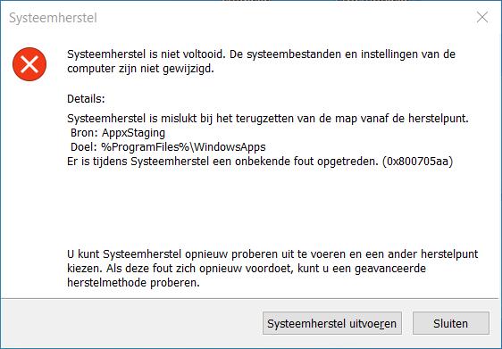 Systeemherstel is niet voltooid – foutcode (0x800705aa)