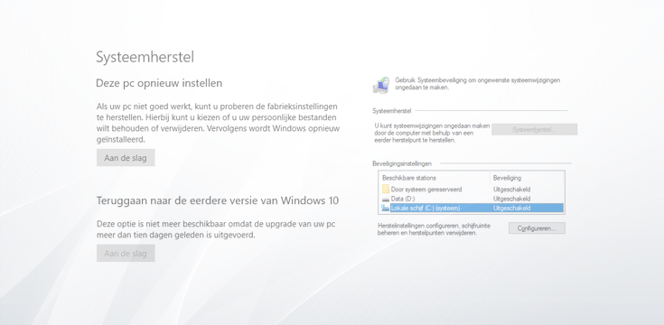Systeemherstel inschakelen in Windows 10