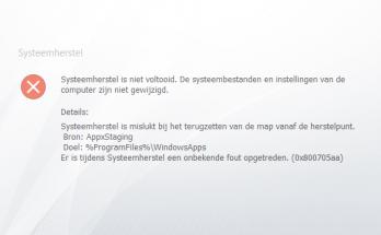 Systeemherstel is niet voltooid - AppxStaging