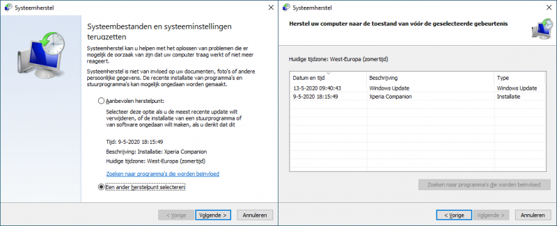 Systeemherstelpunt in Windows 10 terugplaatsen