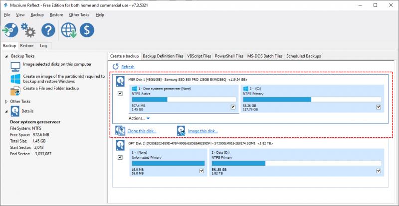 Systeemkopie Windows 10 met Macrium Reflect