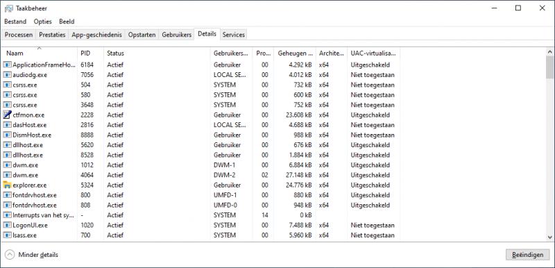 Taakbeheer architectuur weergave (x64 / x86)