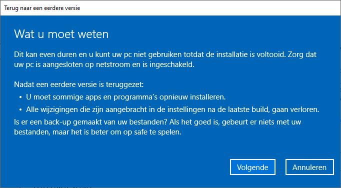 Wat moet u weten? Teruggaan naar de eerdere versie van Windows 10