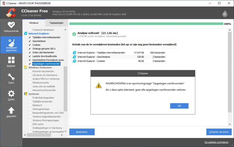 Tijdelijke internetbestanden verwijderen met CCleaner