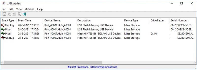 USB-apparaten monitoren met USBLogView