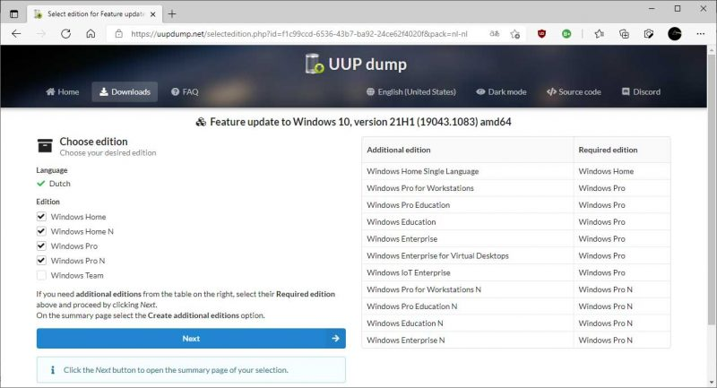 Windows 10 editie kiezen in UUP Dump