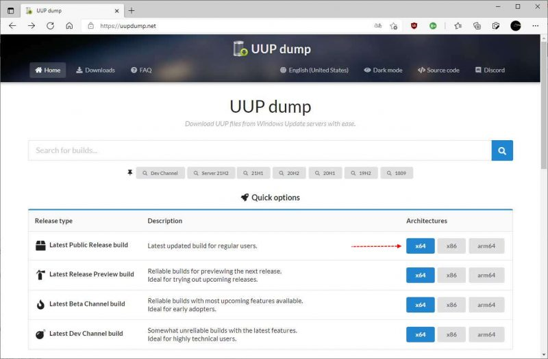 UUP Dump online database met ISO bestanden