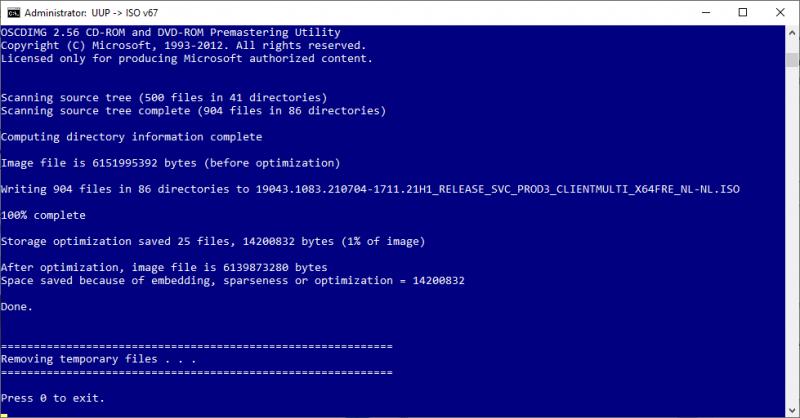 UUP dump script gereed