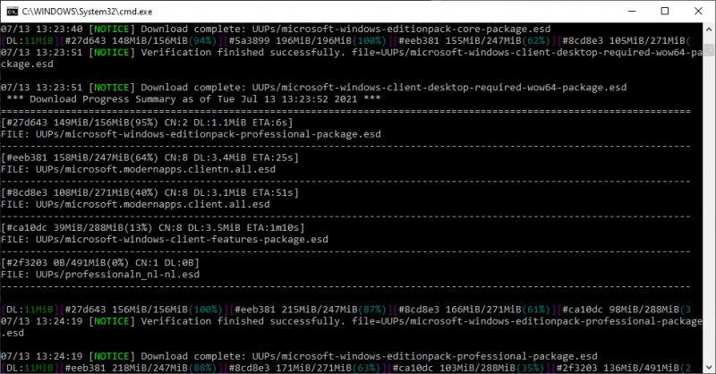 UUP Dump script in werking